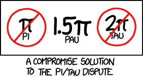Conveniently approximated as e+2, Pau is commonly known as the Devil's Ratio (because in the octal expansion, '666' appears four times in the first 200 digits while no other run of 3+ digits appears more than once.)