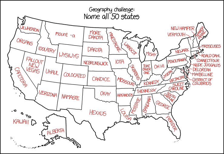 US State Names Explain Xkcd - Map of us states in alphabetical order