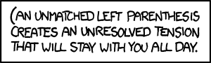 "Brains aside, I wonder how many poorly-written xkcd.com-parsing scripts will break on this title (or ;;""''{<<[' this mouseover text."""