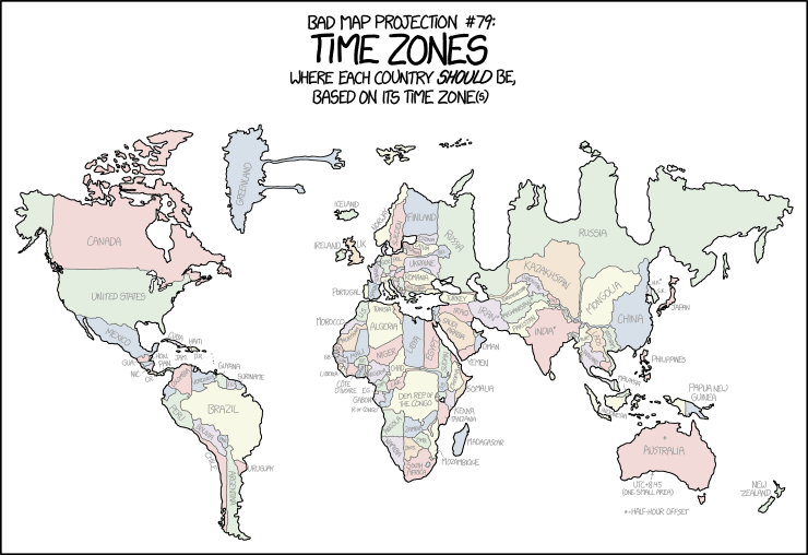 Map Of Canada Unlabelled.1799 Bad Map Projection Time Zones Explain Xkcd