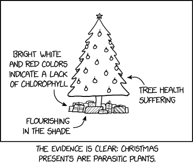 """The parasitism might be mediated by a fungus!"" exclaimed the biologist who was trying to ruin Christmas again."