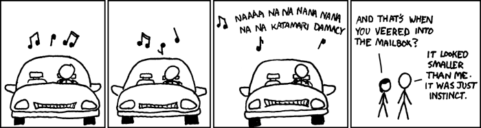As far as treachery-as-driving-music goes, Katamari music is matched only by Guitar Hero music.