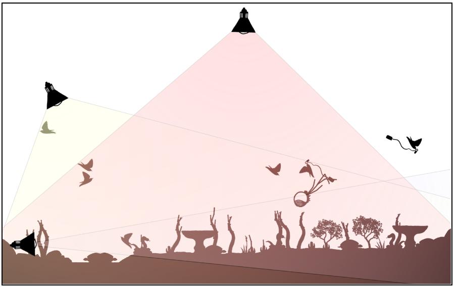 File1663 Garden Mandelbrot Set And Birds, One Carrying