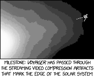 Most of our universe consists of dark matter rendered completely undetectable by our spacetime codec's dynamic range issues.