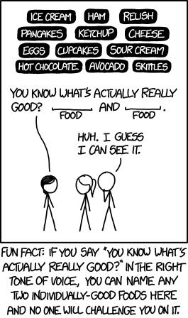 1609: Food Combinations - explain xkcd