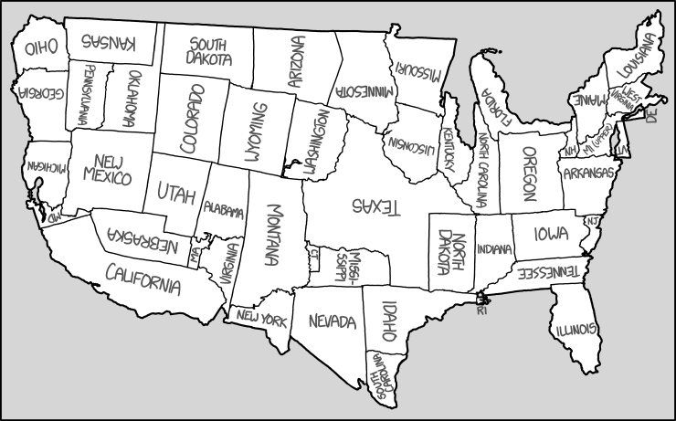 United States Map Explain Xkcd - United states map with abbreviations and names