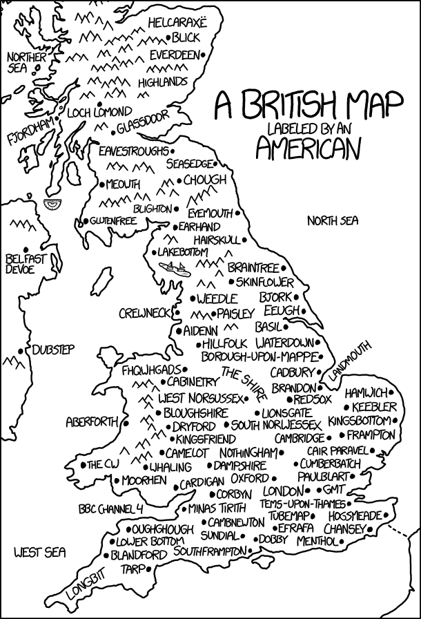 British Map Explain Xkcd - Brits label us map 2015