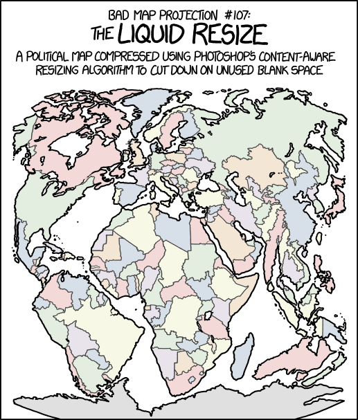 This map preserves the shapes of Tissot's indicatrices pretty well, as long as you draw them in before running the resize.