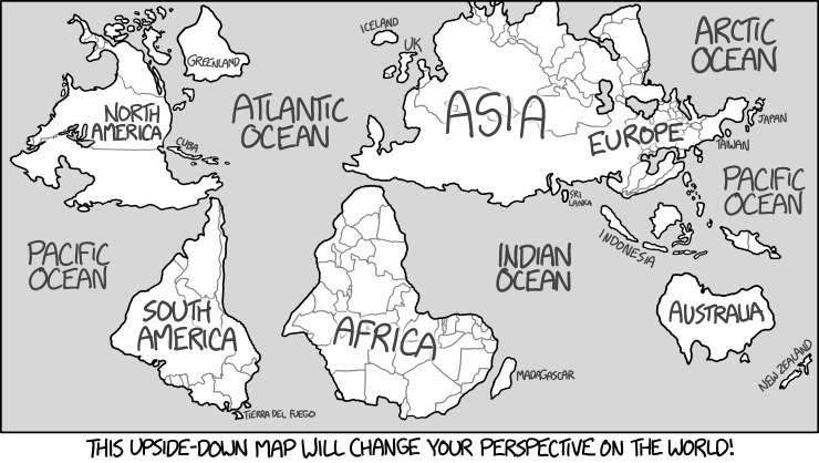 Gratis Kleurplaat Wereldbol 1500 Upside Down Map Explain Xkcd